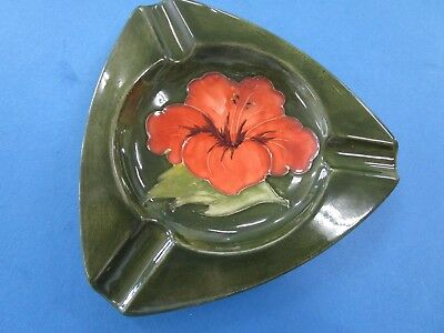 "Moorcroft ""Hibiscus"" Vintage Triangle Ceramic Ash Tray.  Perfect"
