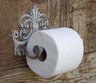 Vintage Cast Iron Toilet Paper Roll Holder Rustic Antique Design Wall Mounted
