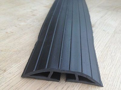 BiMi Extra Long 2m Black Rubber Floor Cable Wires Safety Cover