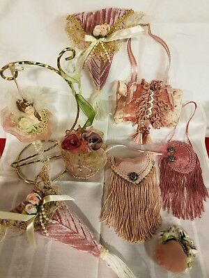 Vintage 1980s Lot of 8 Mauve Roses & Lace Shabby Victorian Christmas Ornaments