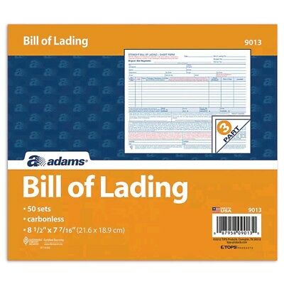 Adams Bill of Lading Short Form, 8.5 X 7.5 Inches, 3-part, 50-forms, White
