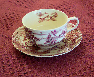 Johnson Bros Enchanted Garden 2 Cups & Saucers Cranberry Red