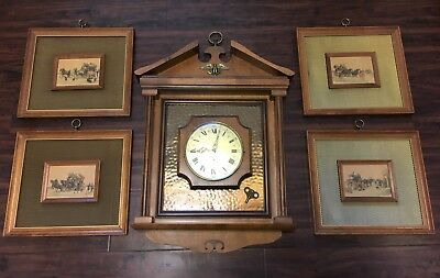 Large Rare Vintage Antique Endura Wall Clock Works Pictures Buggy Carriage Gold