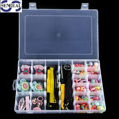 SENREAL 36 Grid Clear Plastic Adjustable Craft Beads Jewelry Sewing Storage Box