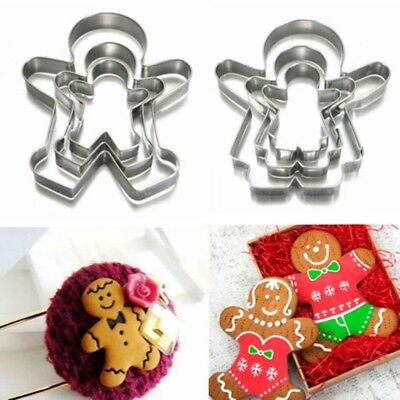 3Pcs Christmas Gingerbread Man Cookie Cutters Stainless Steel Biscuit Mold Set