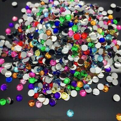 400pcs 6mm Round Resin Flatback Rhinestone Gem Crystal Beads Craft jewel #817