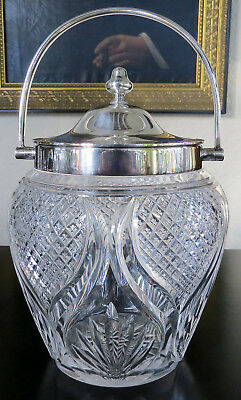 Antique English Cut Glass Biscuit Barrel Silver Plate EPNS Mounts Martin Hall