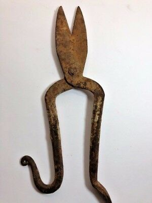 Antique Wrought Iron Scissors Rare Rust Ancient Handmade Primitive Large Horn He
