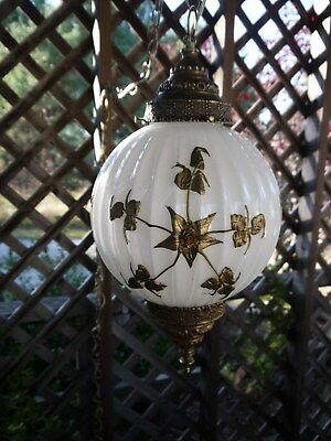 Vintage Hollywood Regency White Gold Flower Swag Glass Globe Hanging Lamp