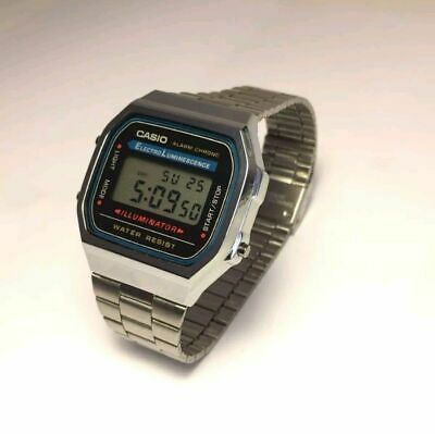 CASIO Retro Classic Unisex Digital Steel Bracelet Watch- A168WA-1YES Silver