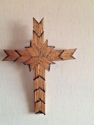 Matchstick Cross Tramp Art Prison Wood Vintage Americana