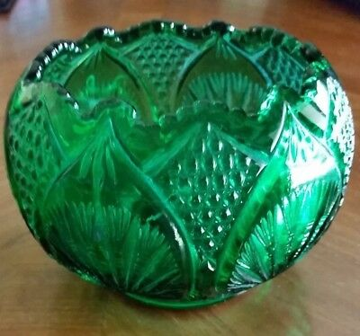 "Fenton Emerald Green Glass Bowl Vase 6"" Diamonds Ruffle Edge Fan 1990's"