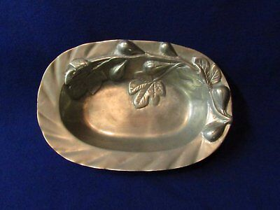 Beautiful hammered pewter (I think) serving bowl with floral design