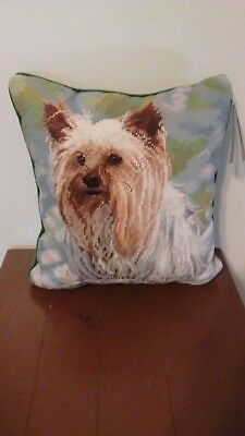 """Needlepoint Yorkshire Terrier Yorkie Dog 14"""" Square Pillow,New"""