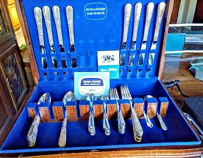 1940 Holmes & Edwards Inlaid Silverplate Silverware w/Chest 52 Pc Youth Pattern