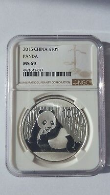 2015 China Silver Panda .999 Fine Silver 1 oz Coin, 10 Yuan, NGC MS69, GORGEOUS!