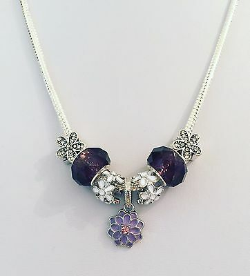 925 Silver Plated 3mm Snake-chain Charm Necklace -Purple & Daisy Charms/ muranos