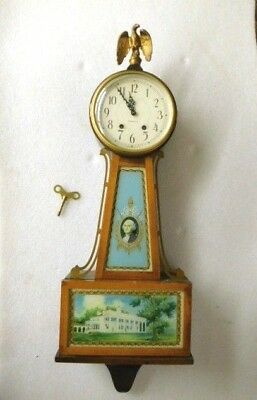 Antique New Haven Clock Company Whitney Banjo Clock 1920s