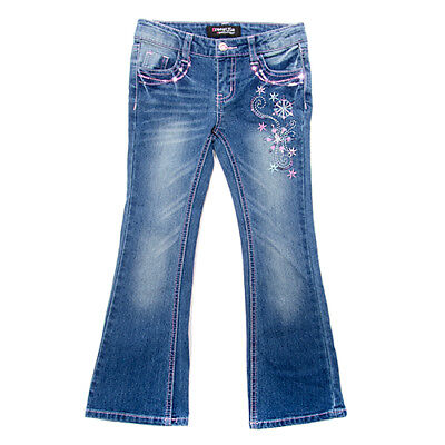 Girls size 4T, 5T or 6X Freestyle Revolution Elsa Embroidered Jeans Pants B479a