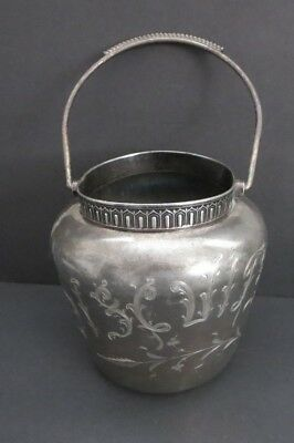"""Vintage  Marked 5.5"""" Silverplate """"biscuits  Jar W/handle Monarch Silver Co."""