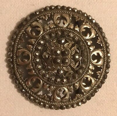 Rare Antique Georgian large Silver Plated Cut Steel Copper Old Buckle Jewellery