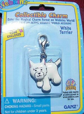 RARE WEBKINZ WHITE TERRIER CHARM Jewelry New in Package w/ Code