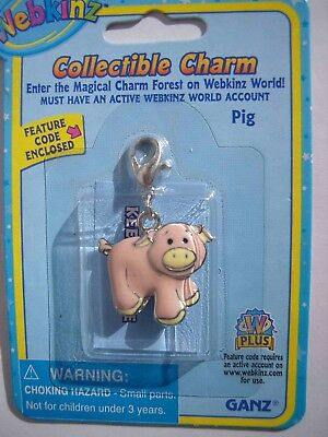 RARE WEBKINZ PINK PIG CHARM Jewelry New in Package w/ Code