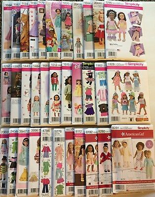 "Simplicity 18""/American Girl Doll Clothes Patterns Assorted Styles  YOU PICK!"