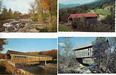 4 Postcards - Covered Bridges in Vermont Uncirculated - Excellent condition