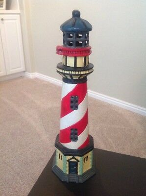 "Red White  17.5"" Tall Cast Iron Lighthouse With Candle Holder - GREAT COLORS!!"