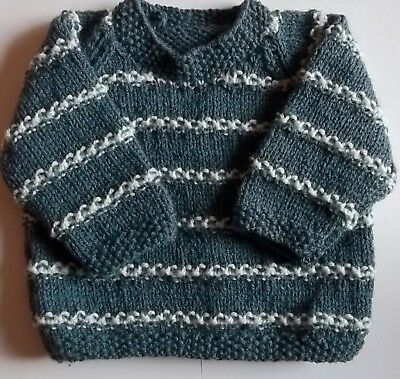 Hand Knit Baby Boy's Blue Stripe Jumper, Size 0/3 Months