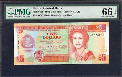 *1991 BELIZE, CENTRAL BANK $5 PICK #53b PMG 66  EPQ PLEASE  LQQK!!