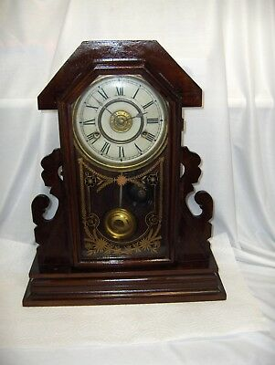 Antique New Haven 8 Day Governor Mantel Kitchen Wall Clock Dark Wood Key 1890's