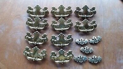 """10 Vintage 3 3/4"""" Brass Chippendale Batwing Style Drawer Pull Handles 5 Keyholes"""