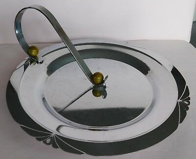 Vintage Art Deco Chrome Serving Tray With Bakelite Knobs