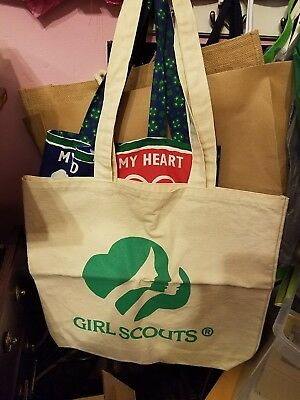 Girl Scout Fabric Cloth Tote Bag Trefoil Three Faces Long Strap Sturdy RARE