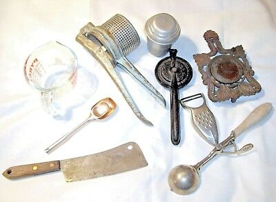Lot Vtg Kitchen Tools cast iron aluminum glass ice cream scoop masher juicer etc