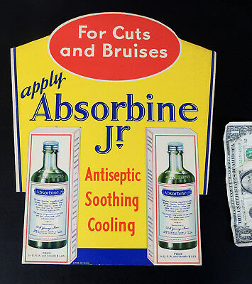 Antique vtg 1930s Art Deco ABSORBINE Jr Medicine SIGN Drug Store Display Medical
