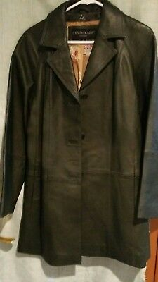 Women S Leather Jacket Fit And Flare Dark Green Floral Lining Size