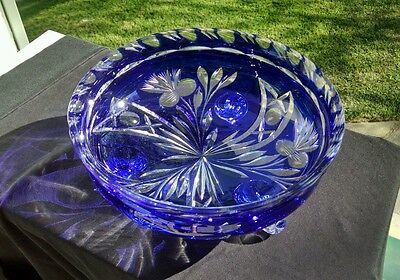 Antique Cobalt Blue Cut To Clear Crystal 10.5' round, 4.5' tall candy dish