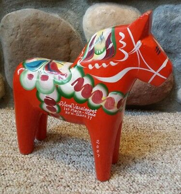 "Nils Olsson Sweden 10"" Custom Wood Painted Dala Horse Nordic Ski Race 1st Place"