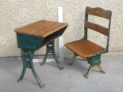 Antique Vintage Childs School Desk and Chair Industrial Table Legs Very Rare !