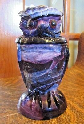 Vintage Purple Slag Glass Owl Covered Candy Jar