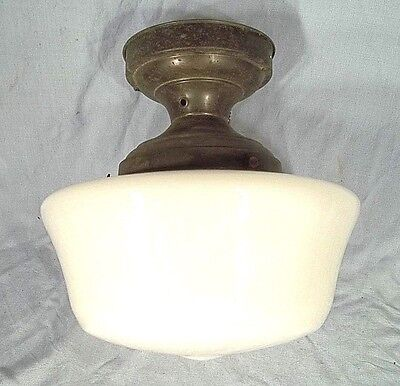 ANTIQUE EARLY 20th CENTURY INDUSTRIAL SCHOOLHOUSE MILK GLASS ACORN SHADE+FITTER