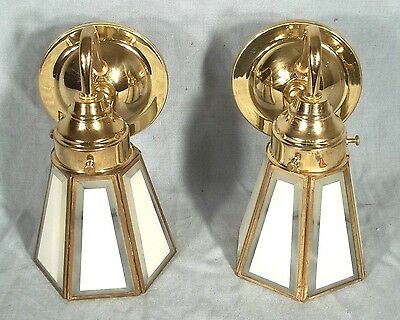 Pair Of Mid Century Modern Brass And Beveled Glass Wall Sconces