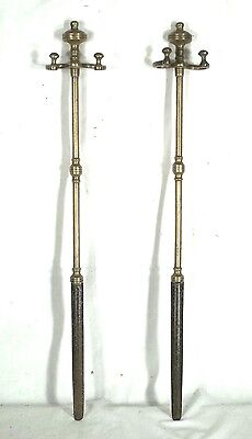 A Rare Or Unique Pair Of Federal Period Brass Double Arm Fireplace Tool Jambs