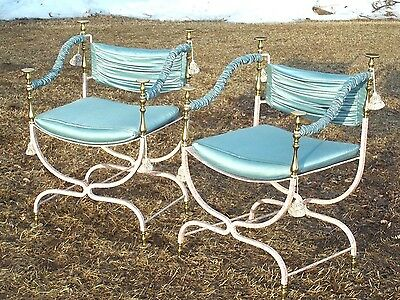 Pair Of Mid Century Wrought Iron+Brass Upholstered Italian Campaign Armchairs