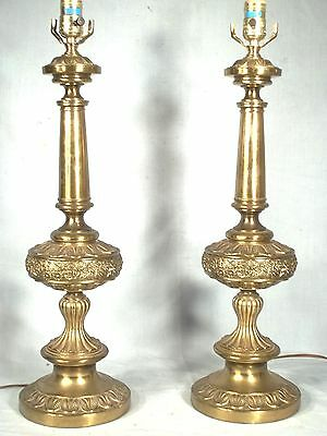 Monumental Pair Of Mid Century Modern James Mont Baroque Embossed Brass  Lamps