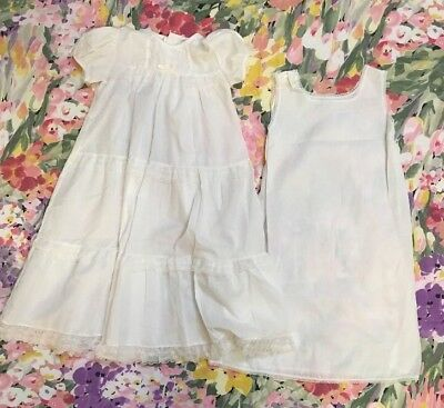 "VTG Alexis CHRISTENING GOWN And SLIP /DOLL CLOTHES WHITE 28"" LONG Lace Ruffles"