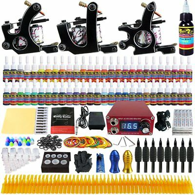 Complete Full Tattoo Kit Starter Set Pro Machine Gun Power Supply Needle Ink NEW